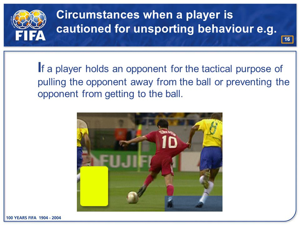 Circumstances when a player is cautioned for unsporting behaviour e.g.