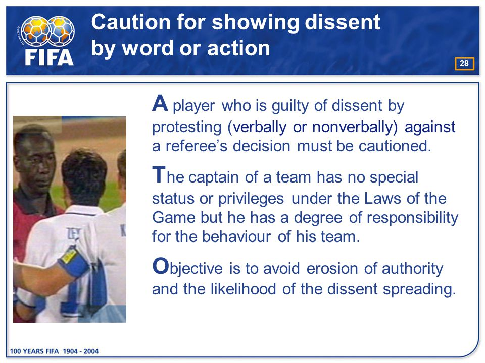 Caution for showing dissent by word or action