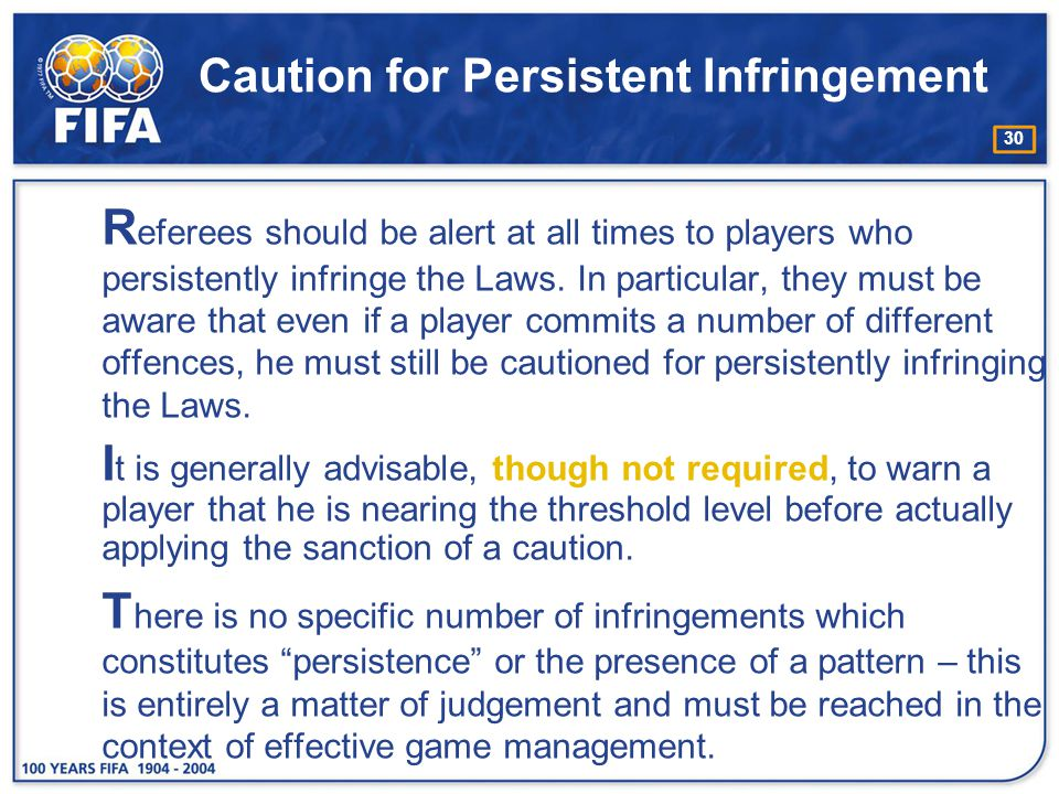 Caution for Persistent Infringement