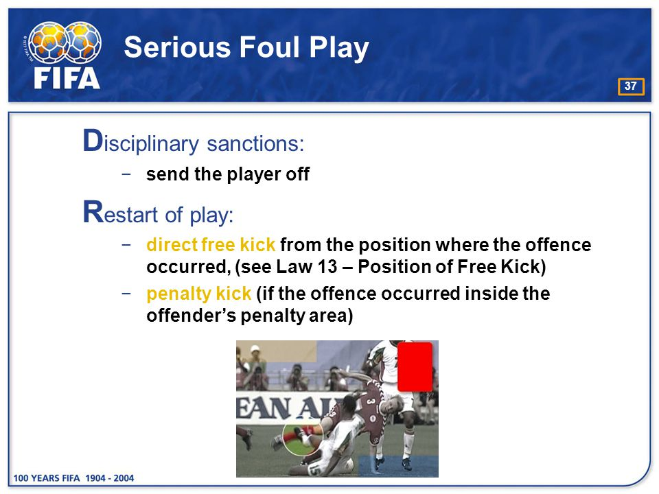 Disciplinary sanctions: Restart of play: