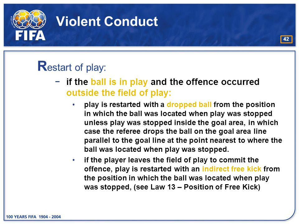 Restart of play: Violent Conduct