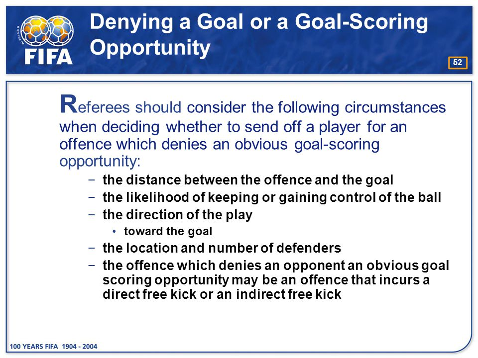 Denying a Goal or a Goal-Scoring Opportunity