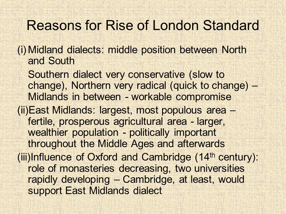 Reasons for Rise of London Standard