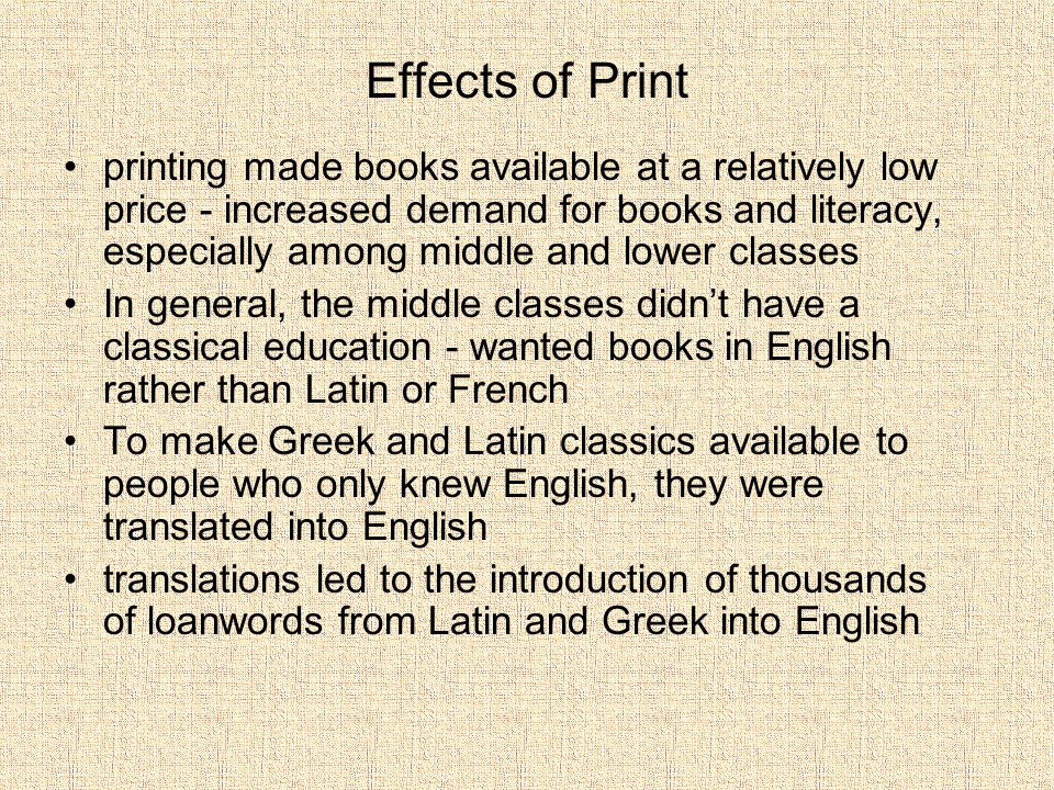 Effects of Print