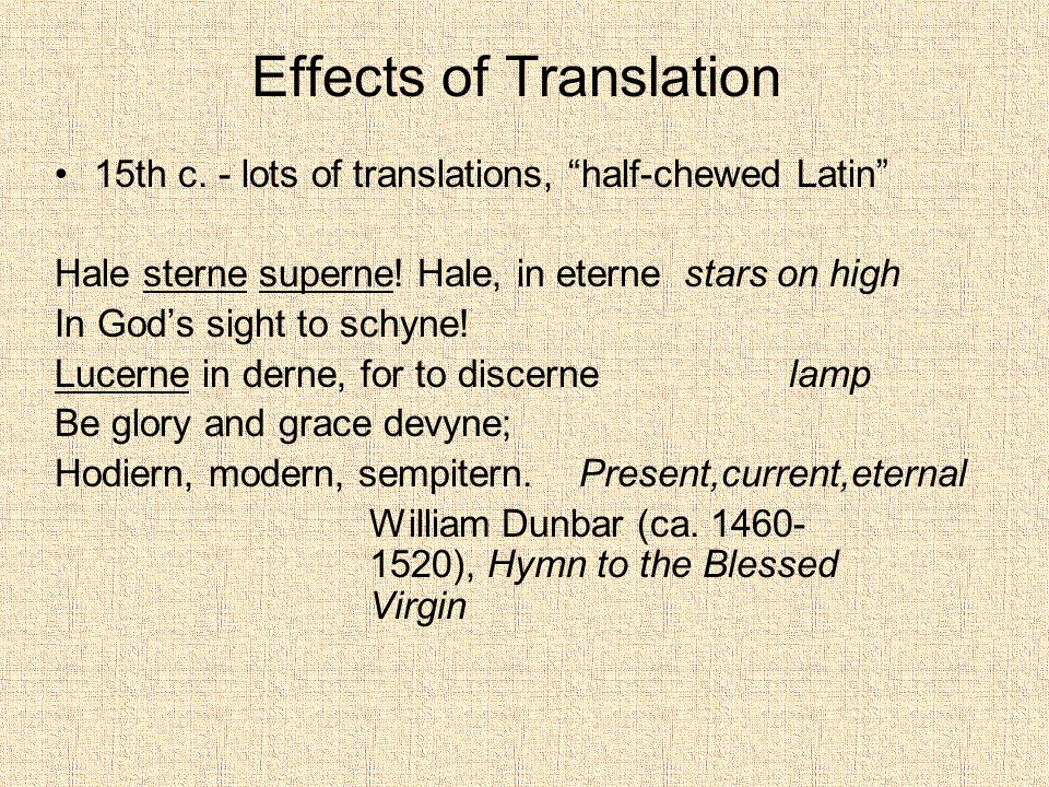 Effects of Translation