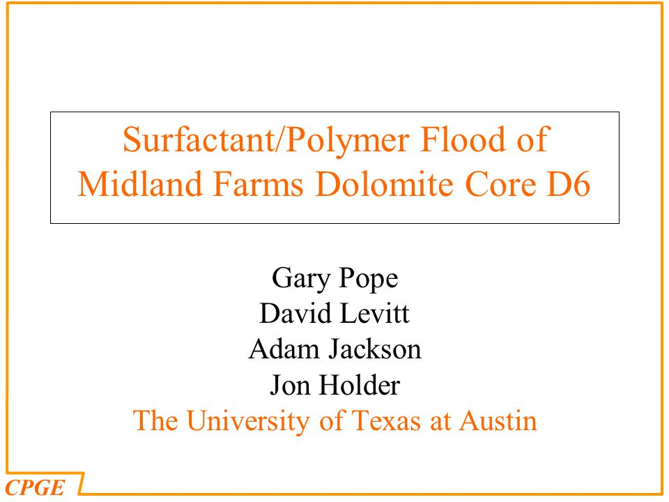Surfactant/Polymer Flood of Midland Farms Dolomite Core D6