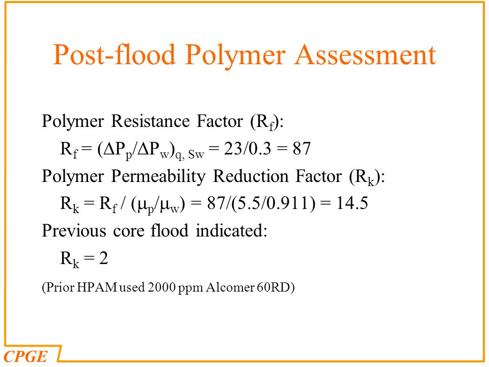 Post-flood Polymer Assessment