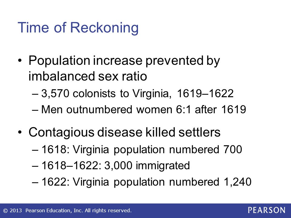 Time of Reckoning Population increase prevented by imbalanced sex ratio. 3,570 colonists to Virginia, 1619–1622.