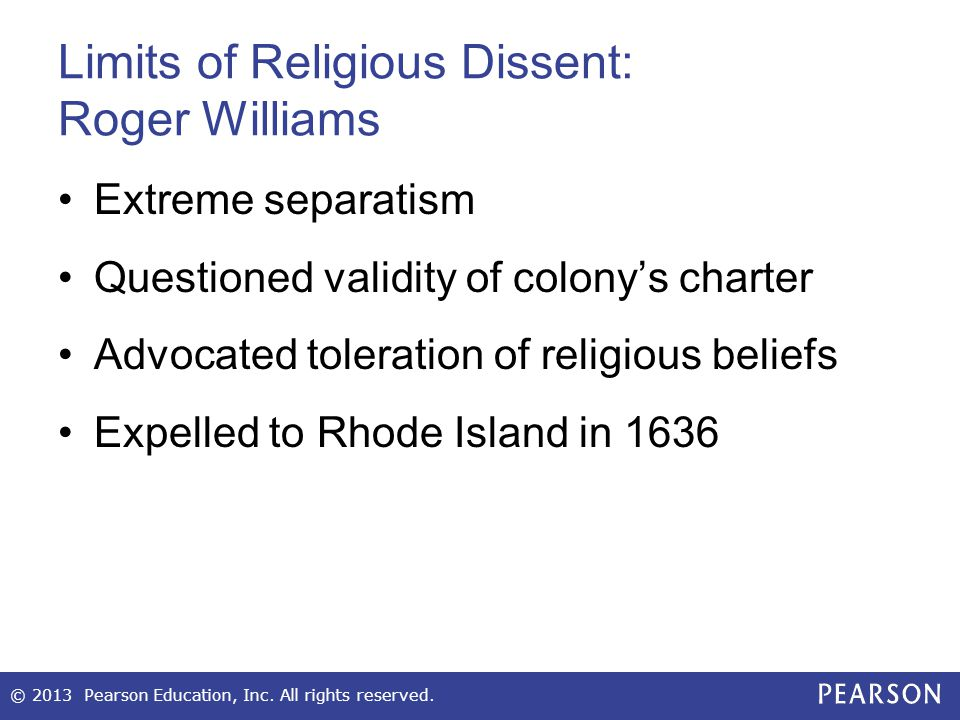 Limits of Religious Dissent: Roger Williams