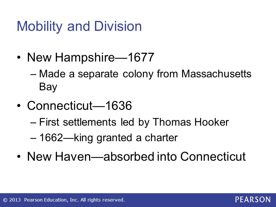 Mobility and Division New Hampshire—1677 Connecticut—1636