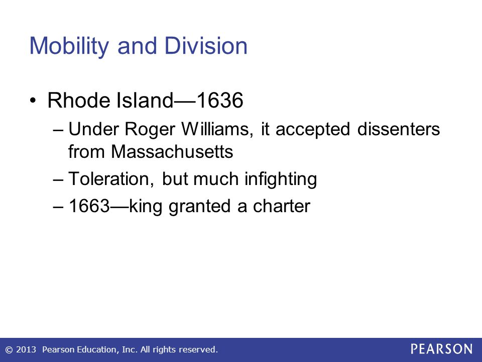 Mobility and Division Rhode Island—1636