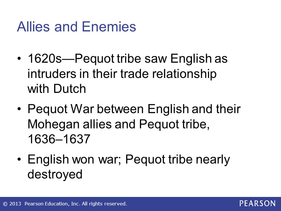 Allies and Enemies 1620s—Pequot tribe saw English as intruders in their trade relationship with Dutch.