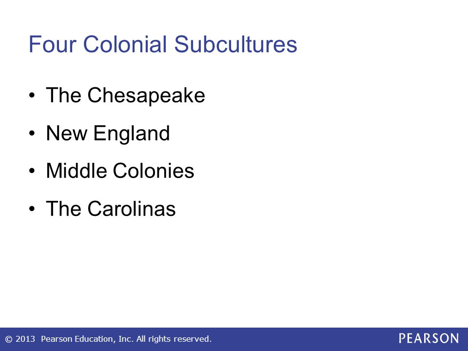 Four Colonial Subcultures