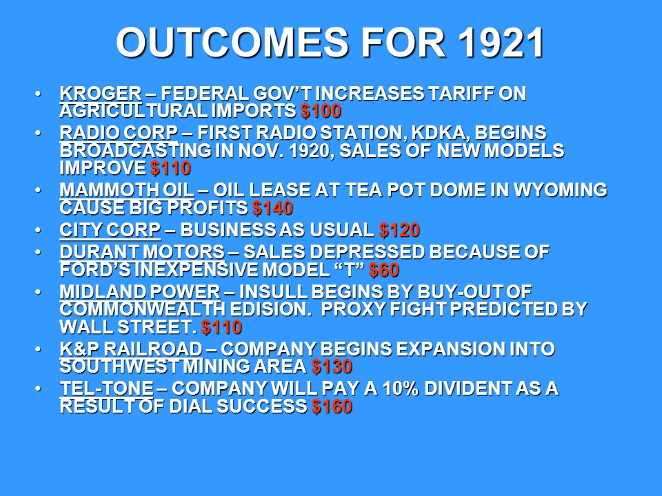 OUTCOMES FOR 1921 KROGER – FEDERAL GOV'T INCREASES TARIFF ON AGRICULTURAL IMPORTS $100.