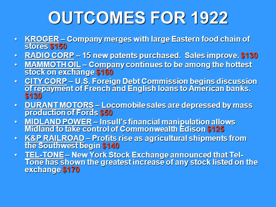 OUTCOMES FOR 1922 KROGER – Company merges with large Eastern food chain of stores $150. RADIO CORP – 15 new patents purchased. Sales improve. $130.