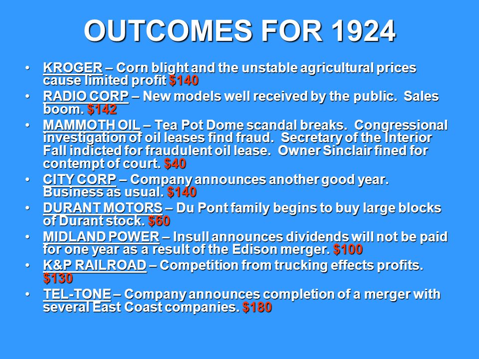 OUTCOMES FOR 1924 KROGER – Corn blight and the unstable agricultural prices cause limited profit $140.