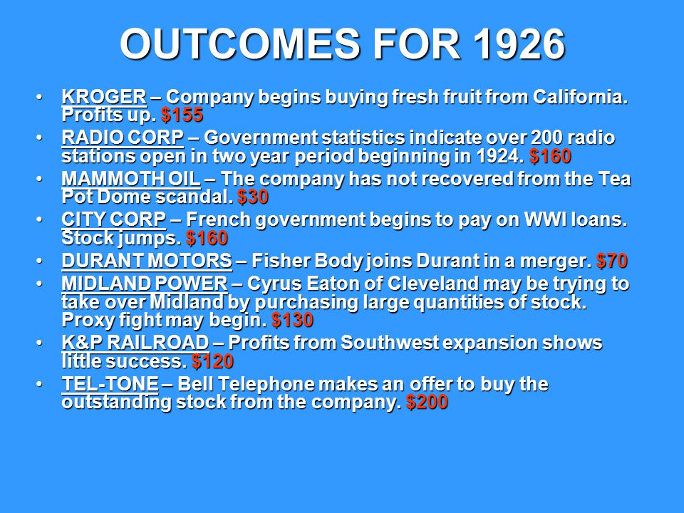 OUTCOMES FOR 1926 KROGER – Company begins buying fresh fruit from California. Profits up. $155.