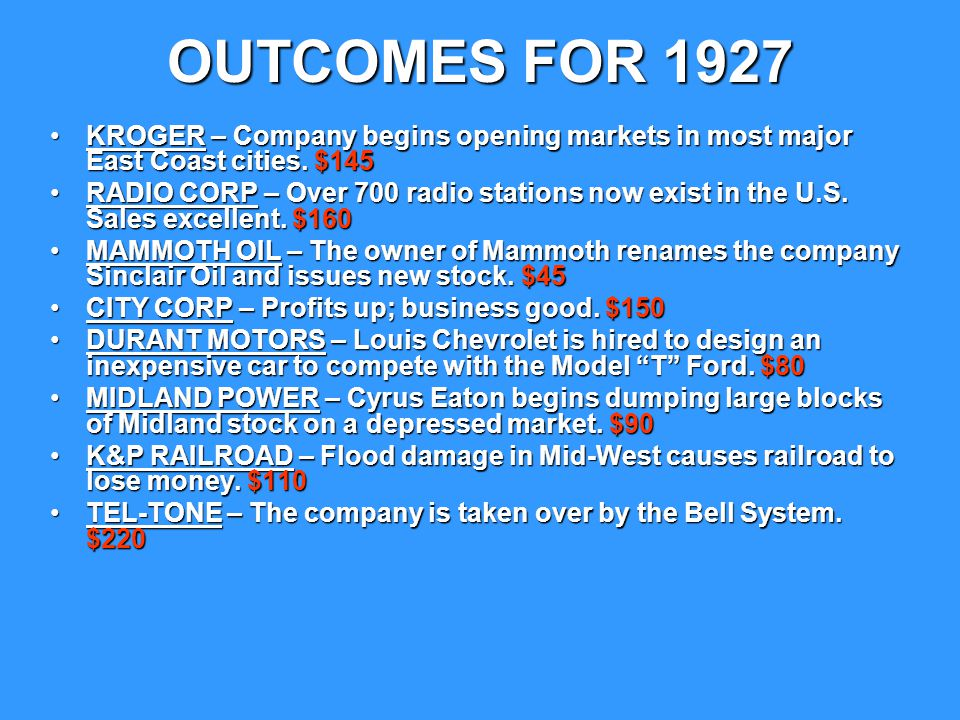 OUTCOMES FOR 1927 KROGER – Company begins opening markets in most major East Coast cities. $145.