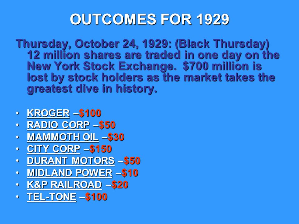 OUTCOMES FOR 1929