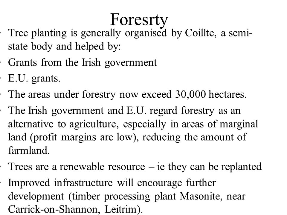 Foresrty Tree planting is generally organised by Coillte, a semi-state body and helped by: Grants from the Irish government.