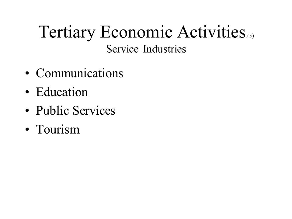 Tertiary Economic Activities.(5) Service Industries