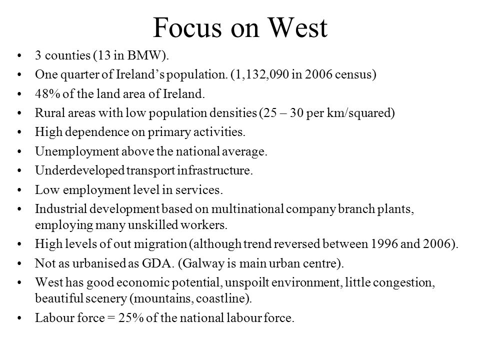 Focus on West 3 counties (13 in BMW).