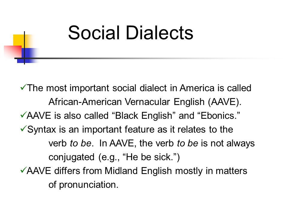 Social Dialects The most important social dialect in America is called African-American Vernacular English (AAVE).