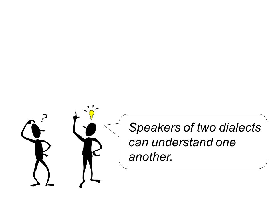 Speakers of two dialects can understand one another.