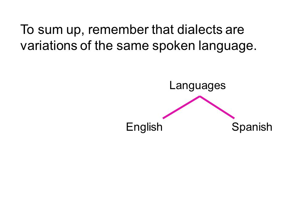 To sum up, remember that dialects are variations of the same spoken language.