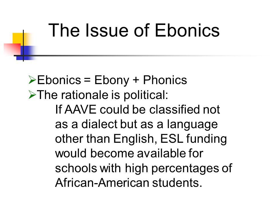 The Issue of Ebonics Ebonics = Ebony + Phonics