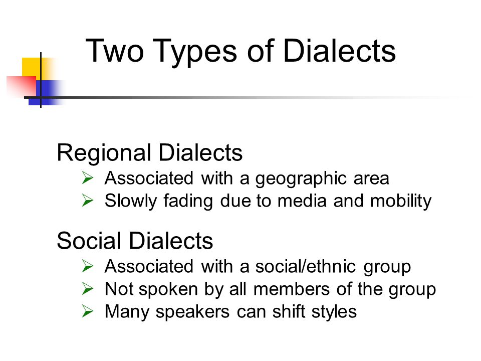 Two Types of Dialects Regional Dialects Social Dialects