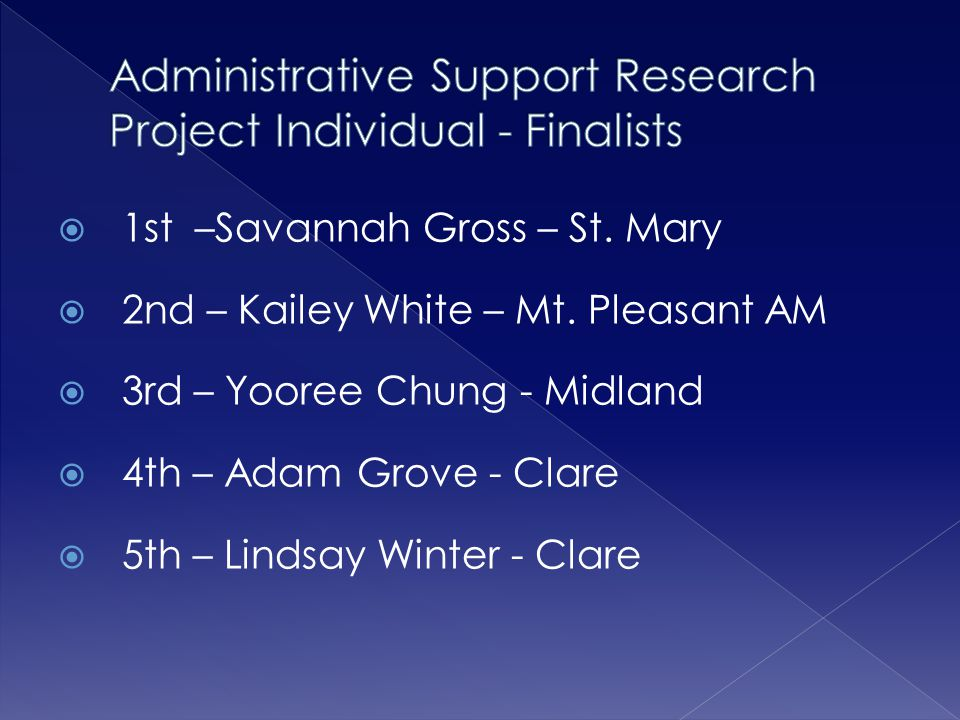 Administrative Support Research Project Individual - Finalists