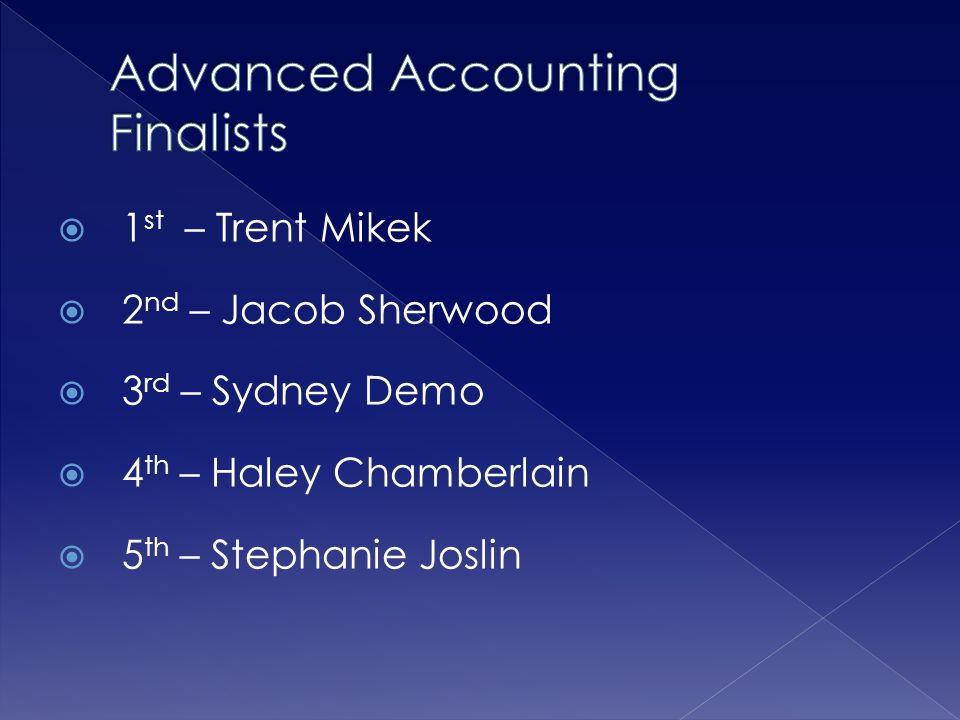 Advanced Accounting Finalists