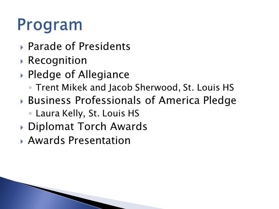 Program Parade of Presidents Recognition Pledge of Allegiance