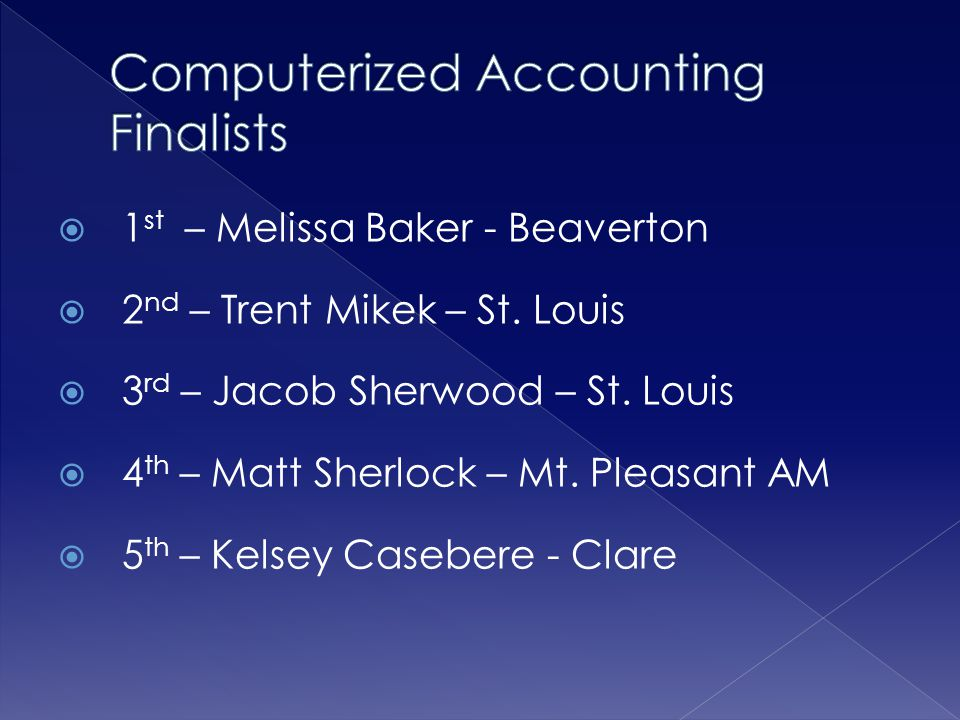Computerized Accounting Finalists