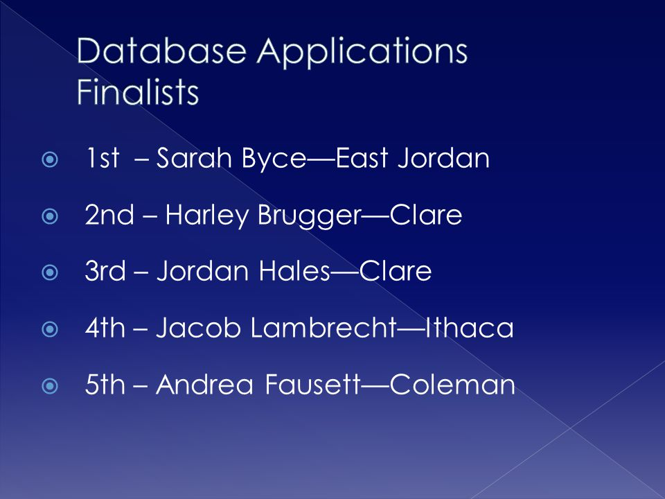 Database Applications Finalists