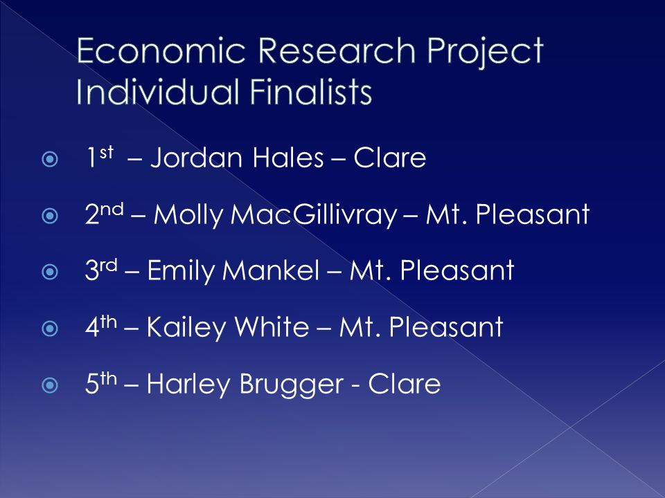 Economic Research Project Individual Finalists