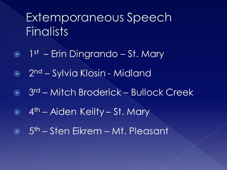 Extemporaneous Speech Finalists