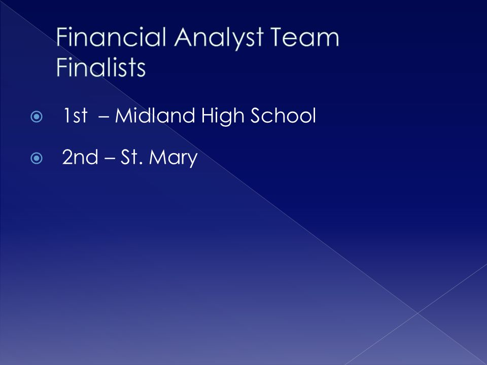 Financial Analyst Team Finalists
