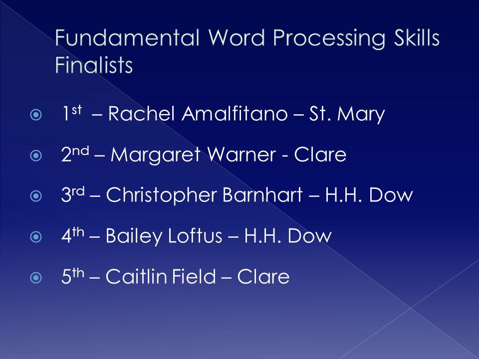 Fundamental Word Processing Skills Finalists