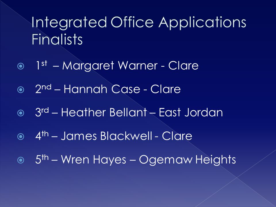 Integrated Office Applications Finalists