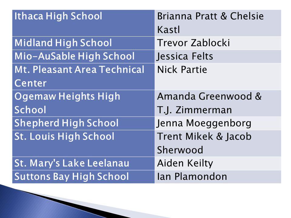 Ithaca High School Brianna Pratt & Chelsie Kastl. Midland High School. Trevor Zablocki. Mio-AuSable High School.