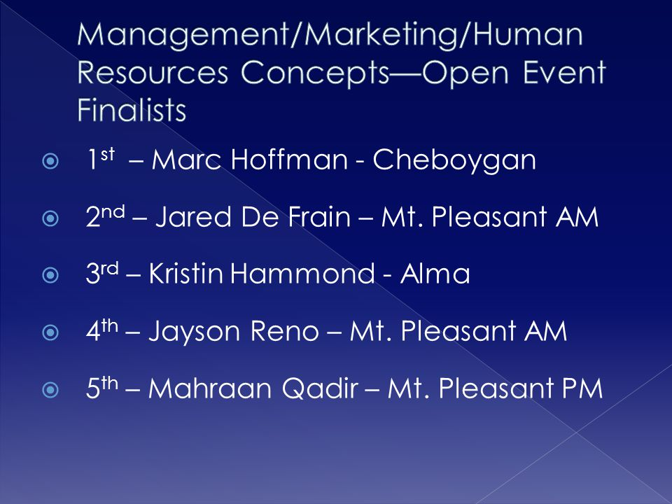 Management/Marketing/Human Resources Concepts—Open Event Finalists