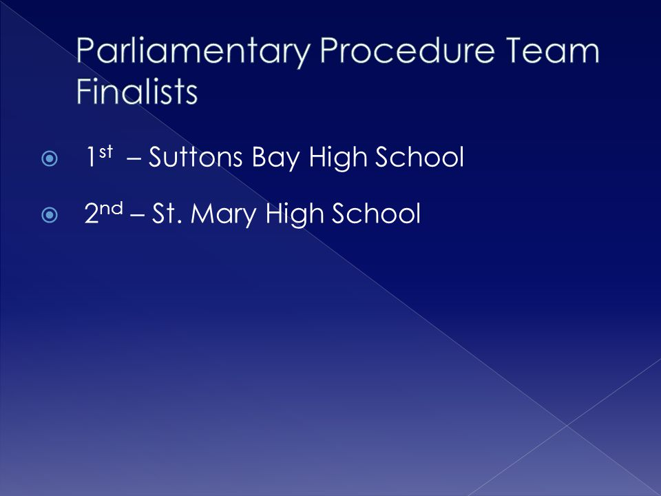 Parliamentary Procedure Team Finalists