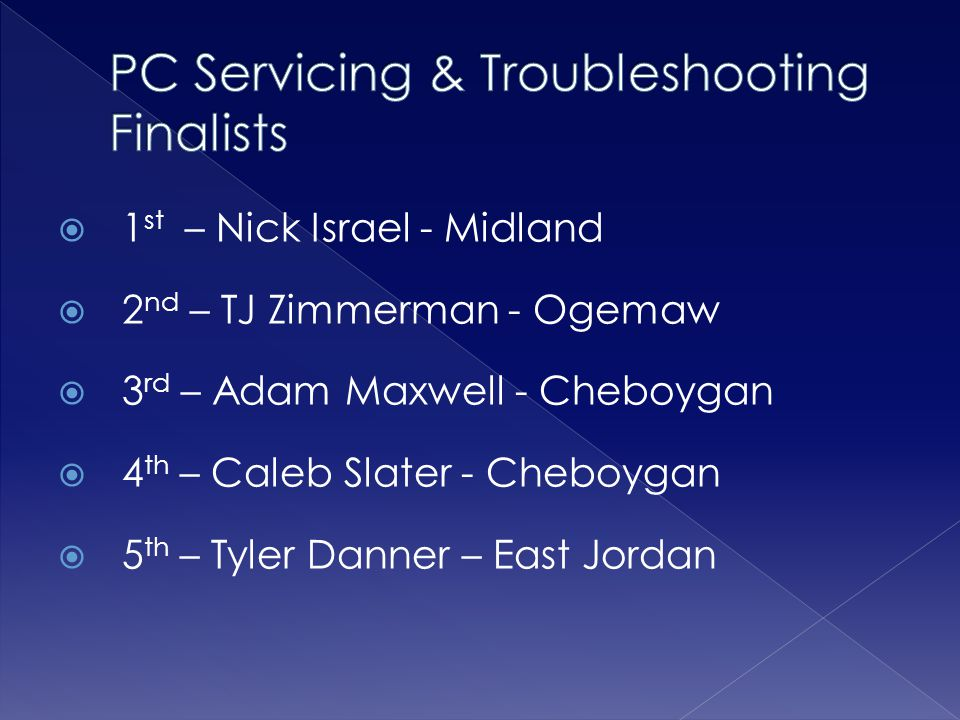 PC Servicing & Troubleshooting Finalists