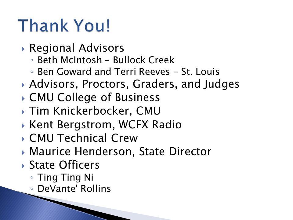 Thank You! Regional Advisors Advisors, Proctors, Graders, and Judges