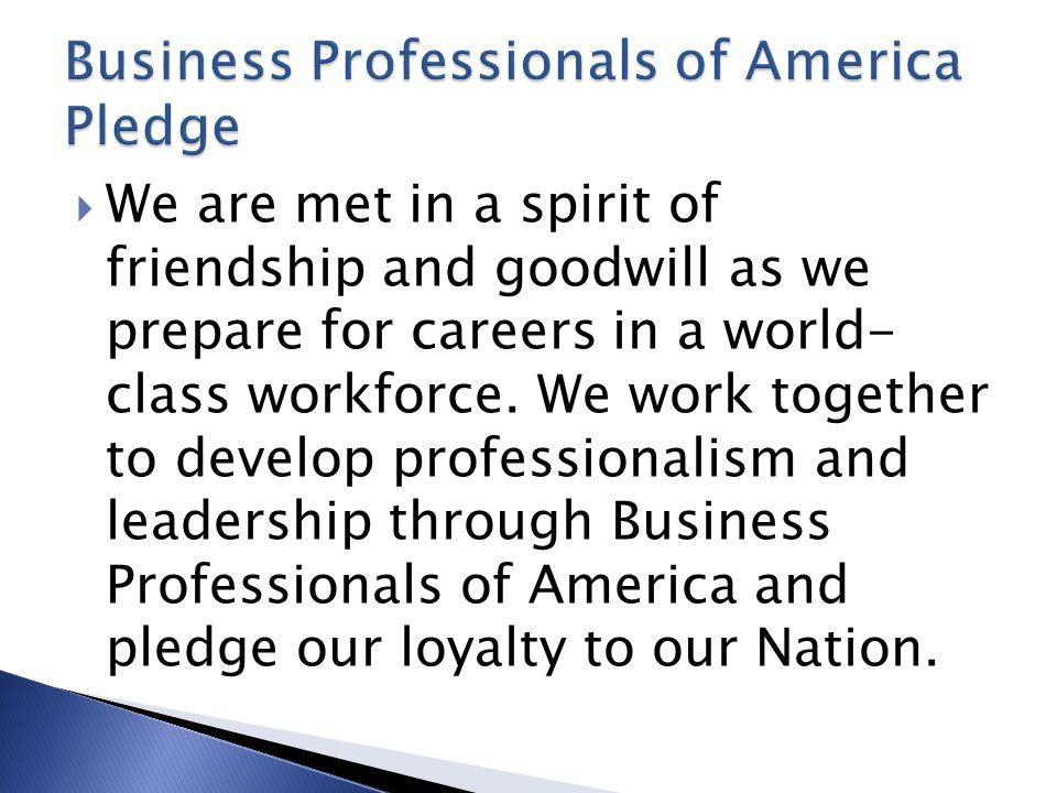Business Professionals of America Pledge