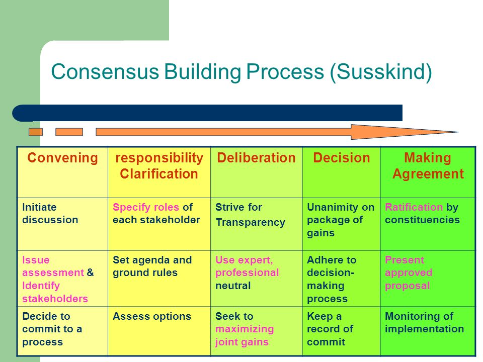 Consensus Building Process (Susskind)