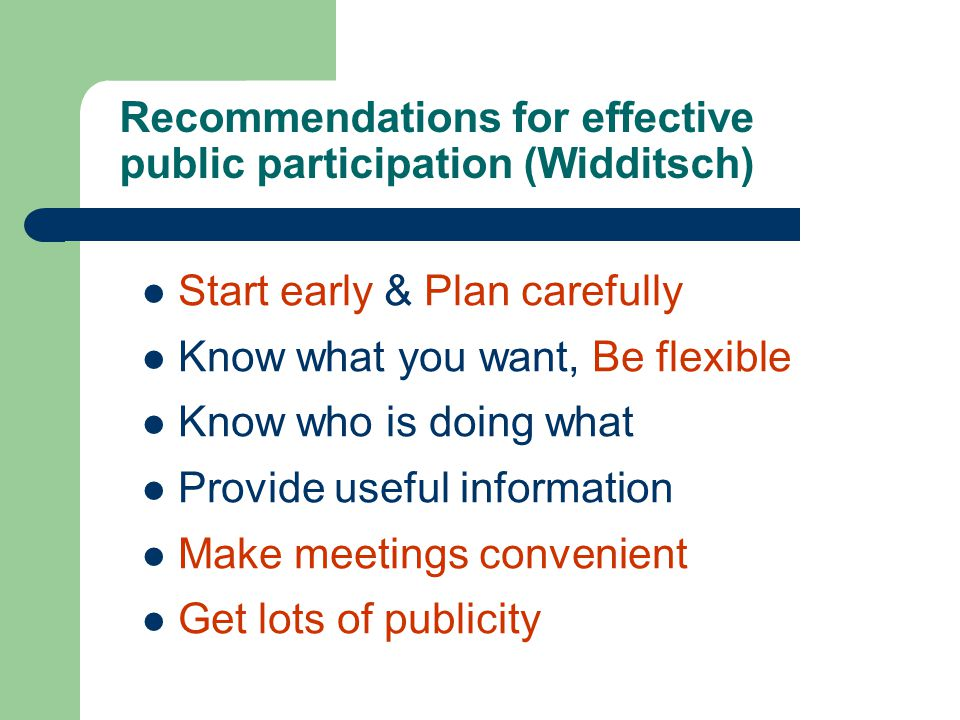 Recommendations for effective public participation (Widditsch)
