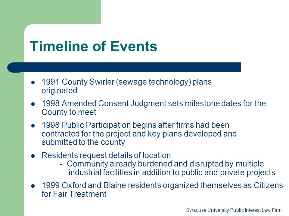 Timeline of Events 1991 County Swirler (sewage technology) plans originated.